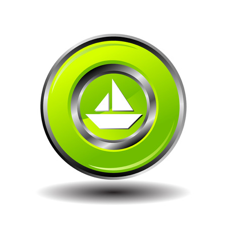 nav: Sailing ship button vector Illustration