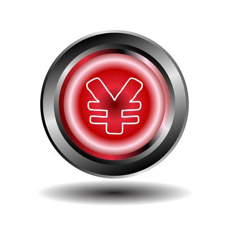 Yen button red glossy web icon vector Vector