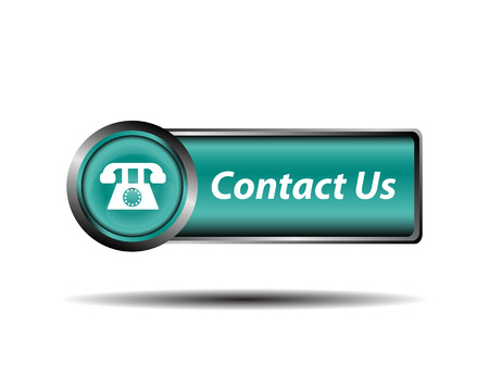 Contact us button blue reflected square sign vector