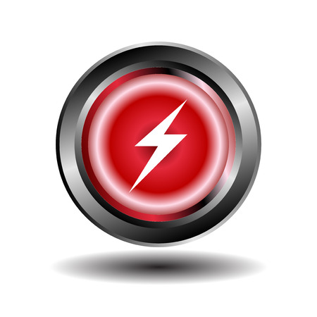 electricity icon: Electricity icon glossy red button