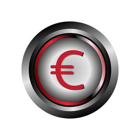 Glossy round button Euro symbol vector Vector