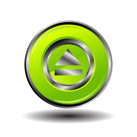 eject: Green glossy round button web eject icon vector