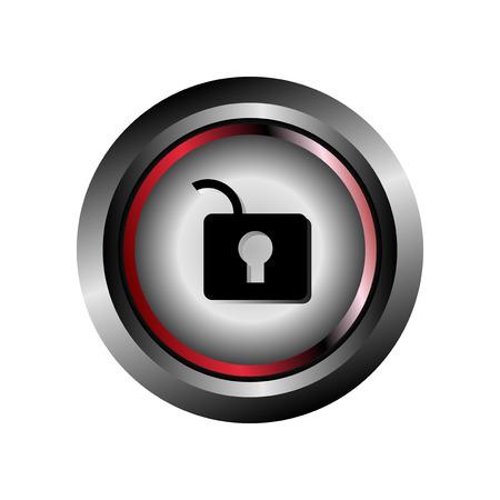 metall: Unlock Cristal Glossy Button vector  Illustration