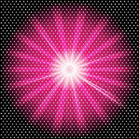 Burst rays dark purple background with halftone photo
