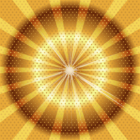 Burst rays golden background with halftone photo