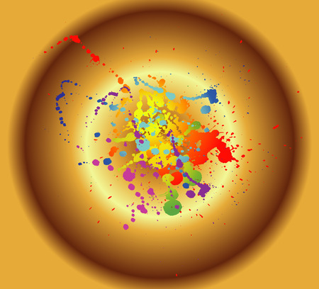 Colored paint splashes isolated on golden background photo