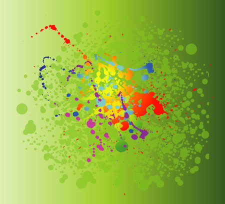 Colored paint splashes isolated on green background photo