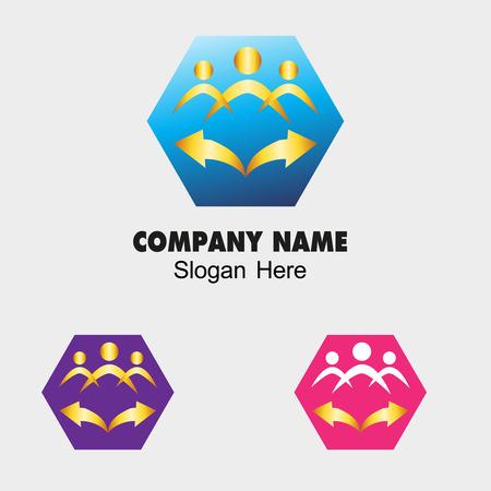 Community icon with hexagon and arrow symbol photo
