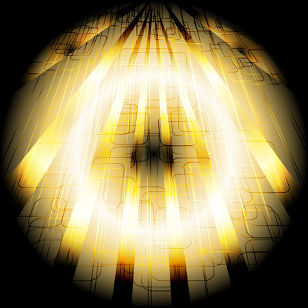 black and yellow: Abstract business science or technology dark black yellow background with rays Illustration