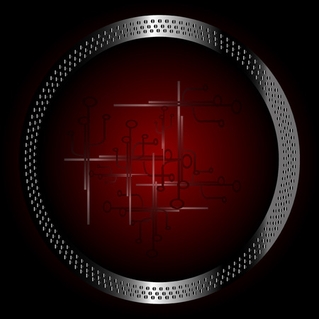 Dark red technology circle background