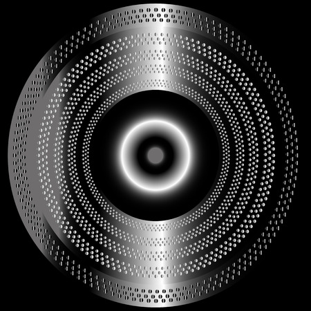 Metal black background with circle Ilustração