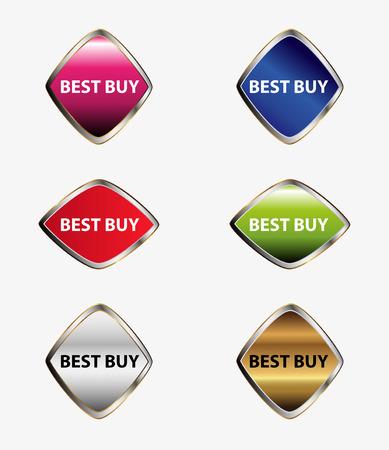 Best buy icon tag set vector Vector