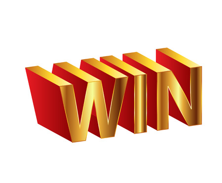 Golden 3d illustration of the words Win Vector