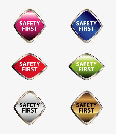 preferencia: La seguridad ante todo etiqueta de conjunto de bot�n