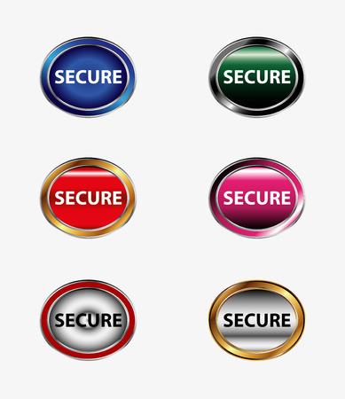 secure vector button Vector
