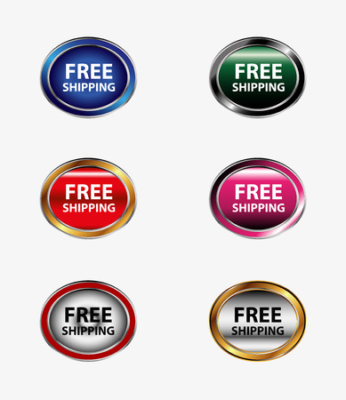 free shiping: Set of free shipping icon button