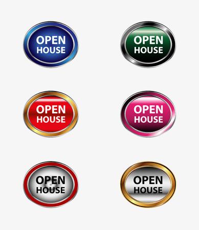 royalty free stock photos: Set of open house button