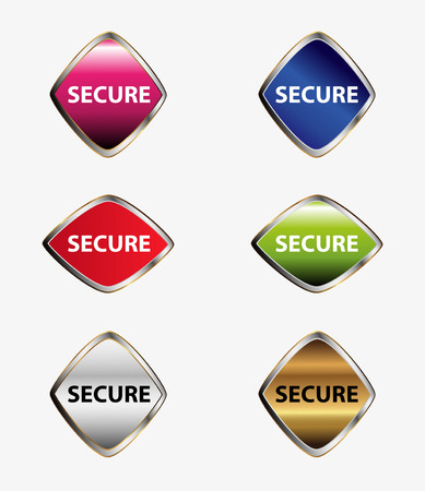 encrypted files icon: Set of Secure button