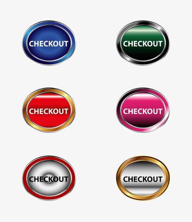 checkout button: Checkout Button icon set Illustration