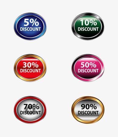 Discount sign button set vector Vector