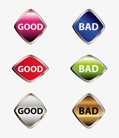 good bad: Bon mauvais jeu de boutons vecteur