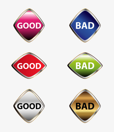 good and bad: Good bad button set vector Illustration