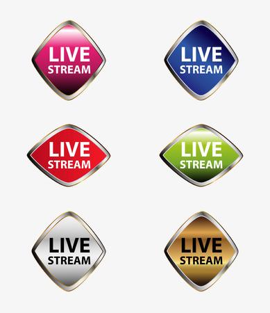 news cast: Live stream icon set vector Illustration