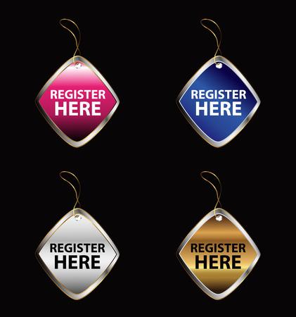 join here: Register here sign tag Illustration