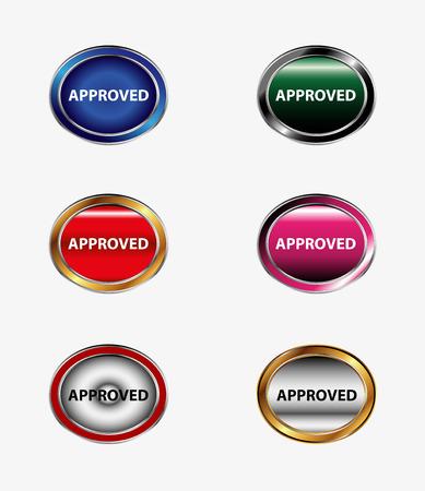approbation: Set di pulsante Approvato icona Vettoriali