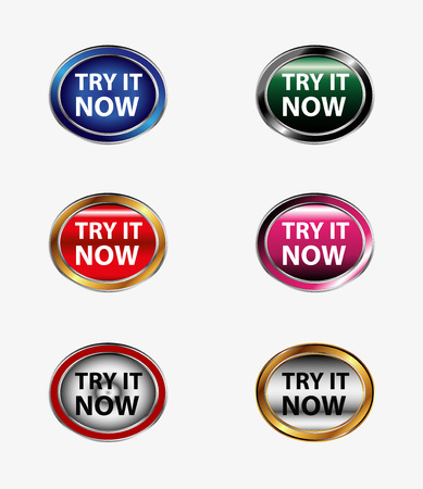 try: Try it now button icon vector set
