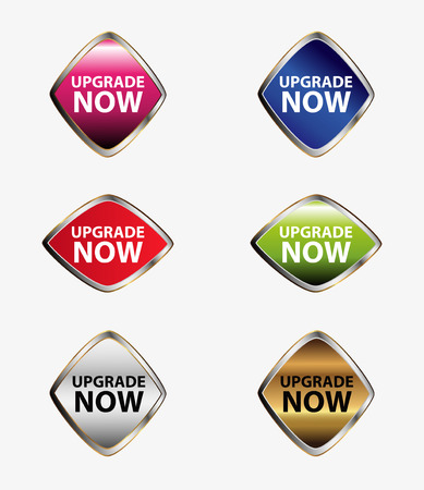 Upgrade now sign label set Vector