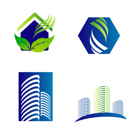 Building construction architecture company logo set Vector