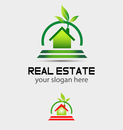greenhouse and ecology: Eco house Branding corporate logo isolated Illustration