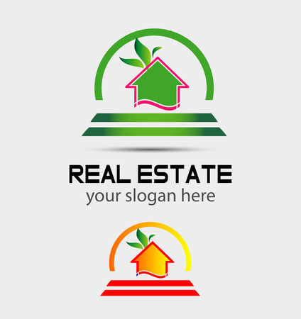 Leaf Eco home sign house icon Vector