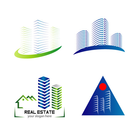 Skyline icon set template design Vector