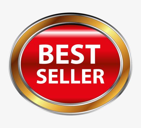 Round red best seller button Vector