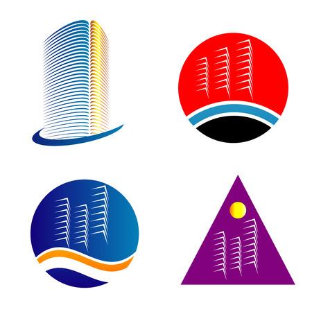 logo batiment: Gratte-ciel logo modèle ensemble