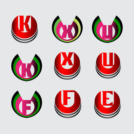 u k: Letter K, X, U, F, E  icon set