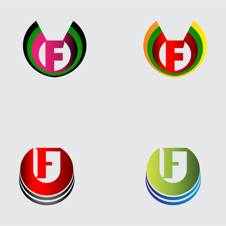 letter f: Set of alphabet symbols and elements of letter F Illustration