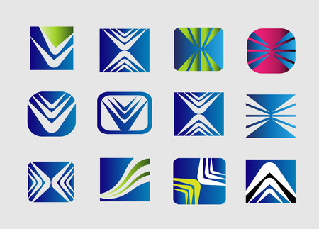 convergence: Collection of square  , vector icon template. Use in the game, app, communications, electronics, agriculture, travel, media