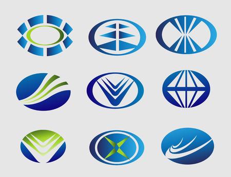 Elipse logo oval symbol set