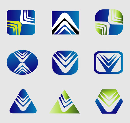 globe arrow: Set of business abstract icons