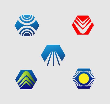 v cycle: Set of hexagon  icon element Illustration