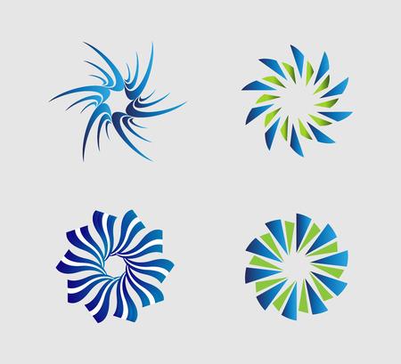 Spiral circular   element set Ilustrace
