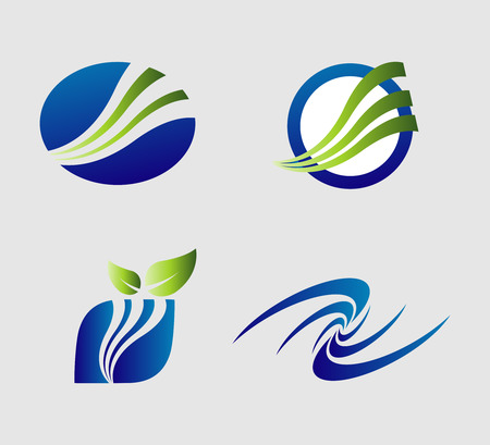 Various colorful abstract icons logo isolated Illustration
