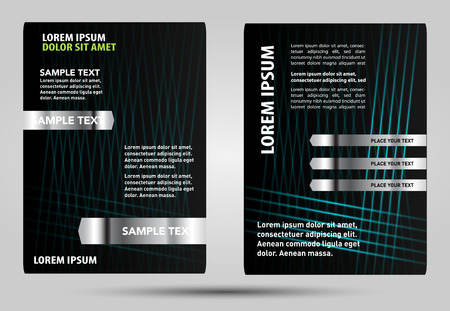black and blue: Black blue Brochure Template Illustration