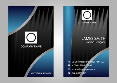 black and blue: Black blue vertical vector business card set Illustration