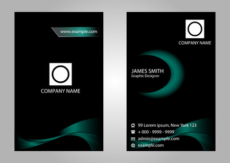 Black Business Card Set Vector