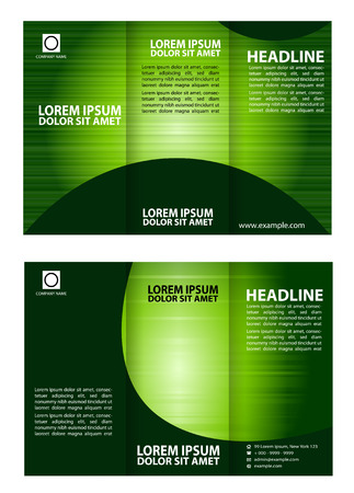 Vector green brochure template design tri-fold Vector