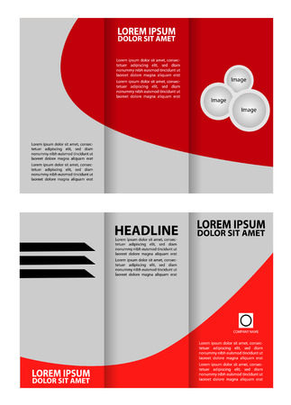 Red tri-fold business brochure template design
